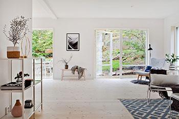 Rum med vackert ljust trägolv. Blå matta på golvet med mönster.