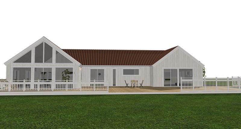 Stor vit visualiserad 1-plansvilla med stora fönster. Villan syns från baksidan huset.