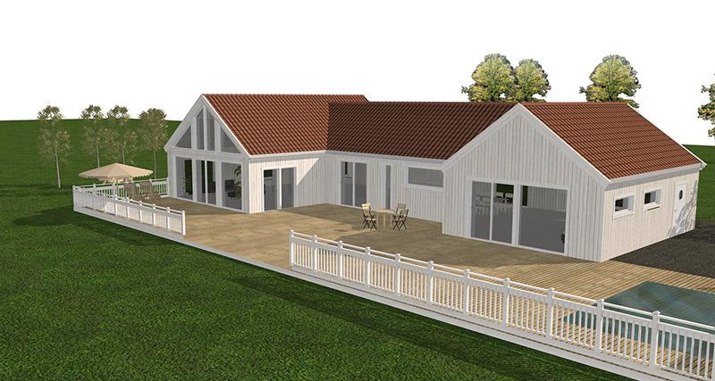 Stor vit visualiserad villa med stor altan och stora fönster. Pool på utsidan. Villan syns snett från höger baksida huset.