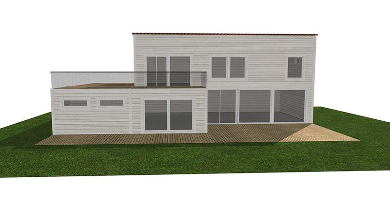 Vitt visualiserat 1-planshus i 3D.