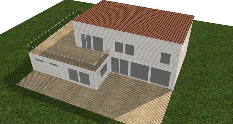 Visualiserad vit funkisvilla med stora fönster. Visualiserad uppifrån.