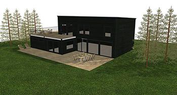 Visualiserad funkisvilla med stora fönster i en grön miljö.